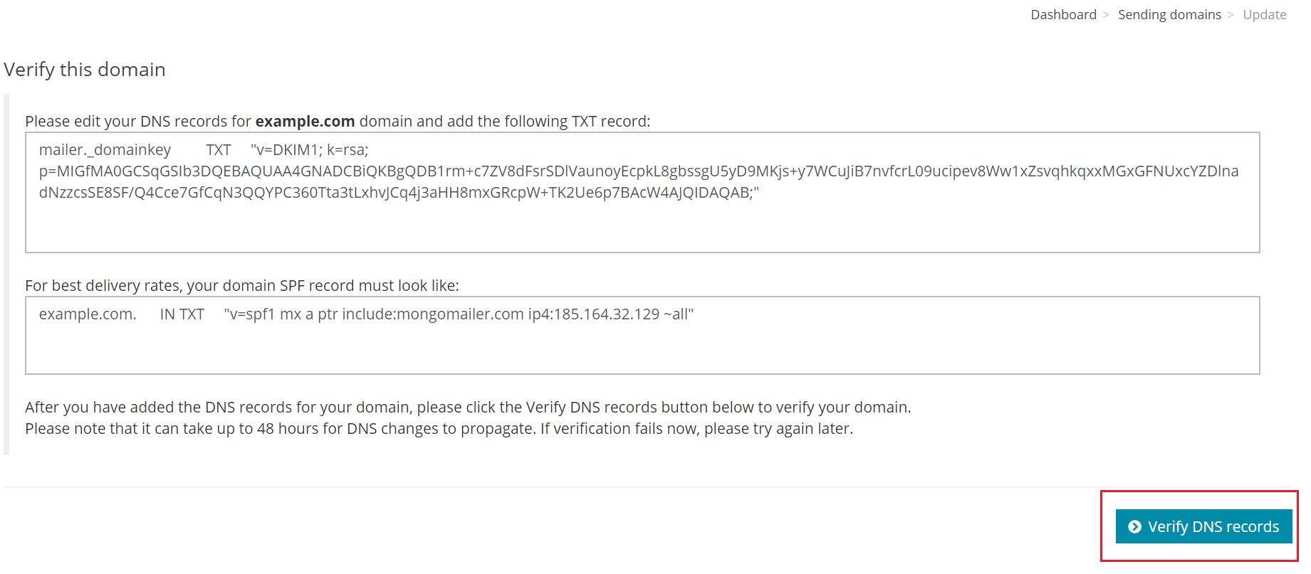 Verify the DNS