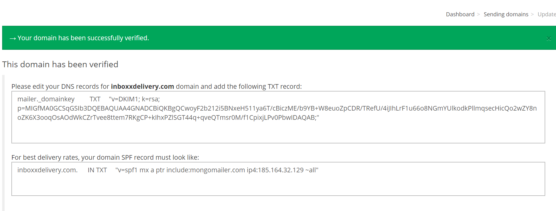 DNS verified Successfully