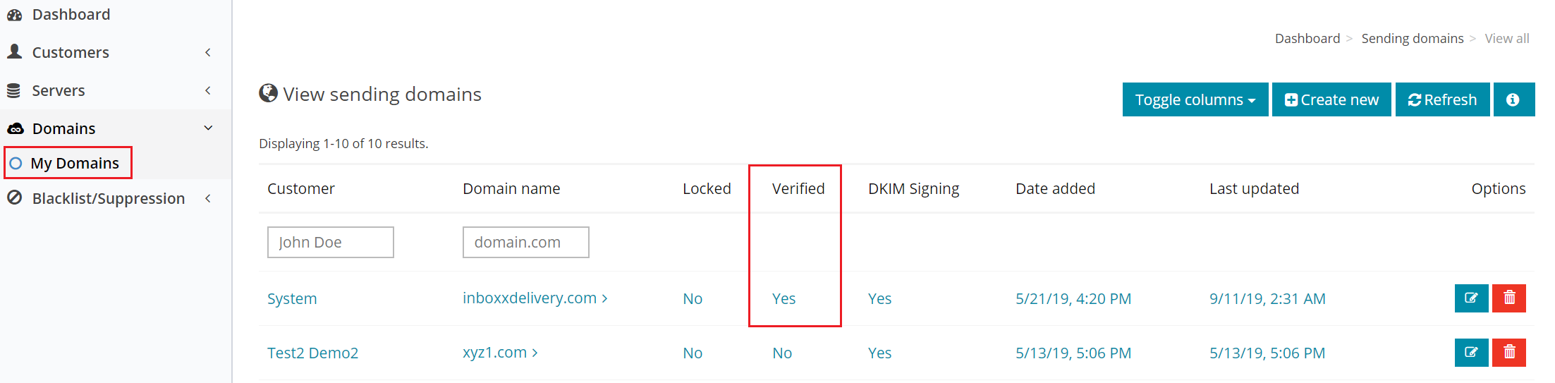 DNS verified Yes