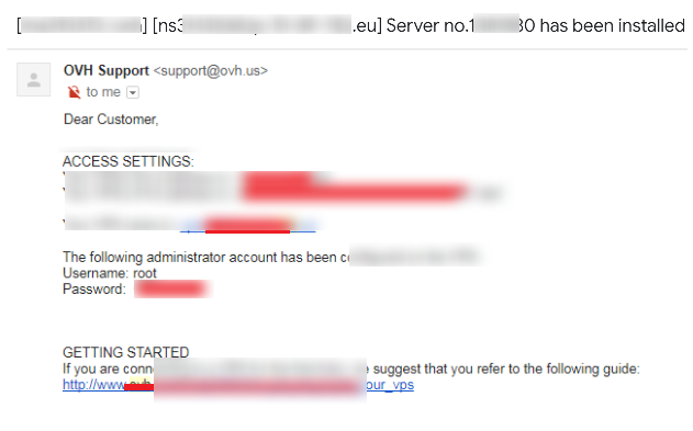 Server installation root access email