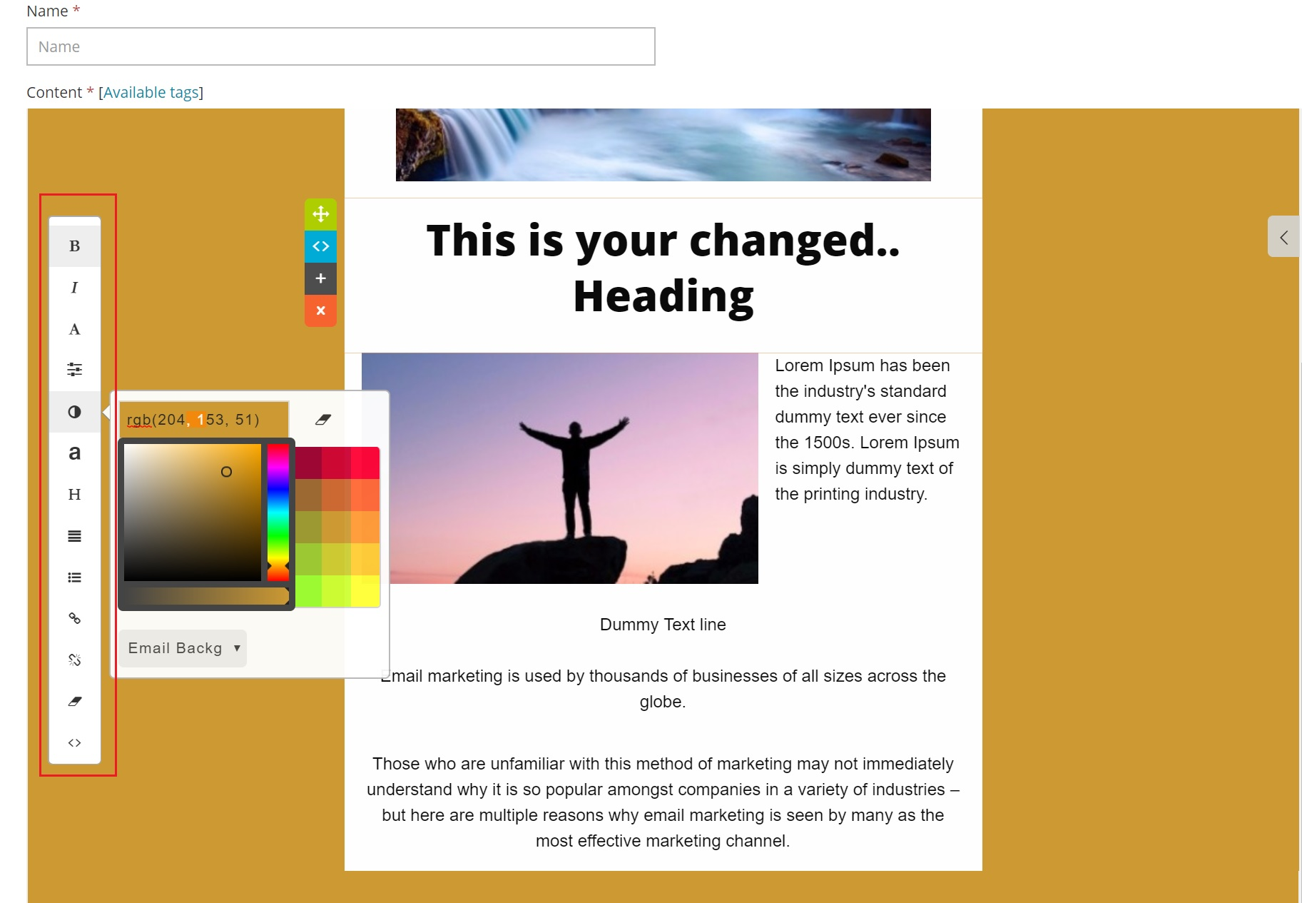 Background color change of email template