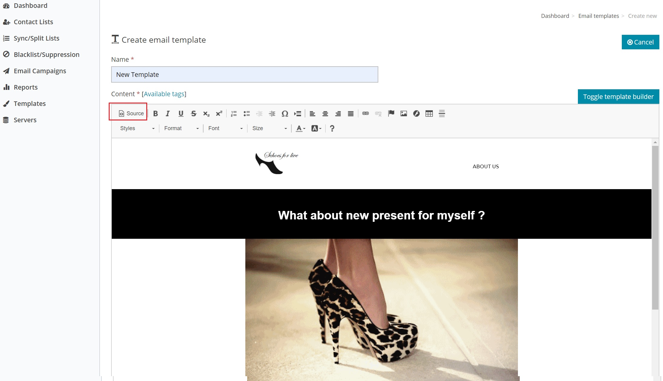Email Template with HTML source code - See new template