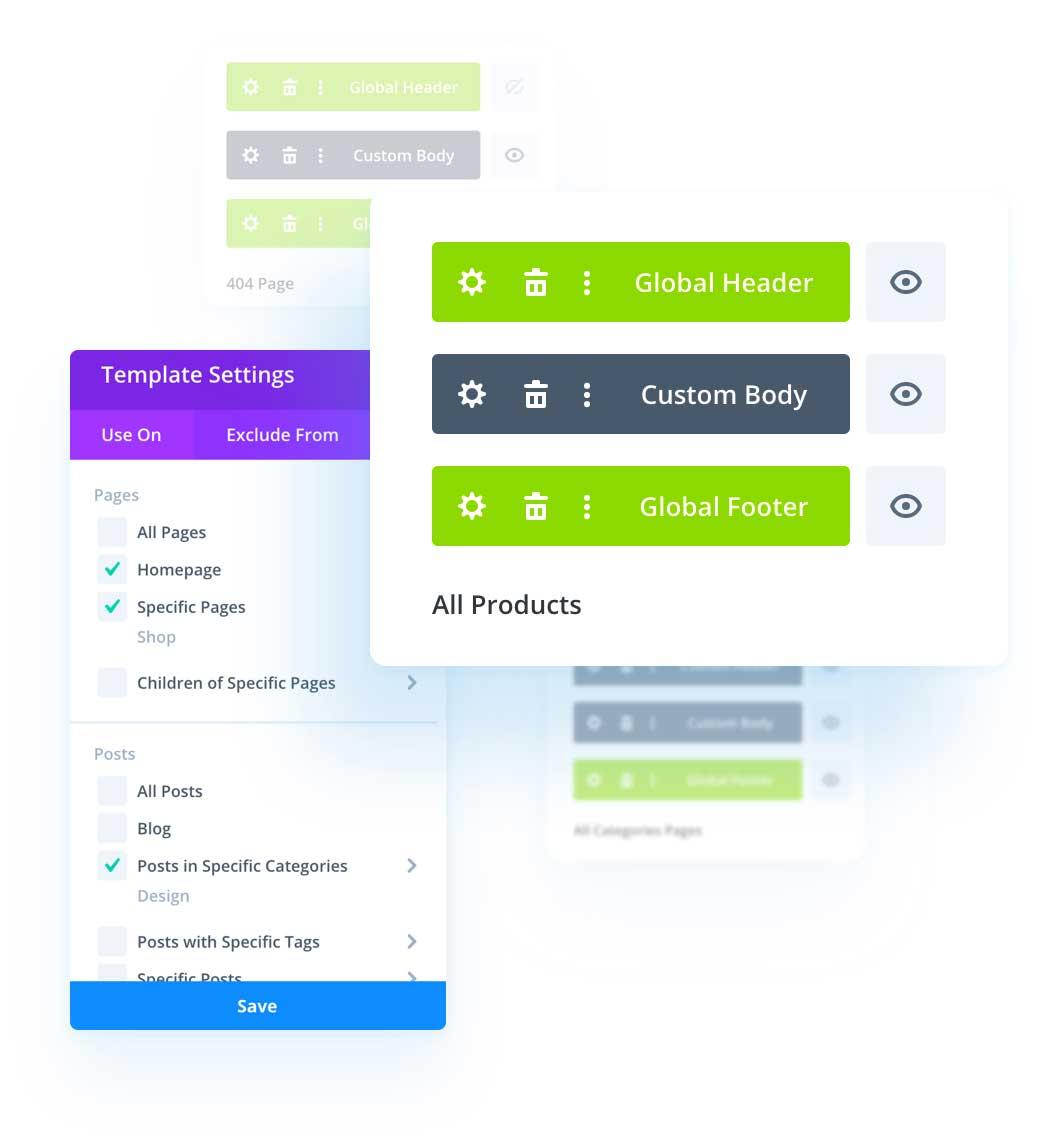Divi 4.0 Custom header and footer